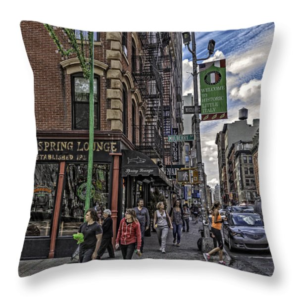 Spring and Mulberry - Street Scene - NYC Throw Pillow by Madeline Ellis