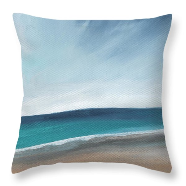 Spring Beach- Contemporary Abstract Landscape Throw Pillow by Linda Woods