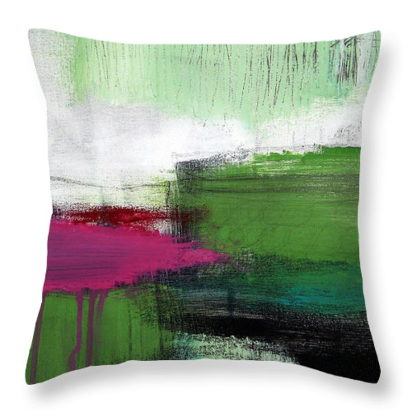 Spring Became Summer- Abstract Painting  Throw Pillow by Linda Woods