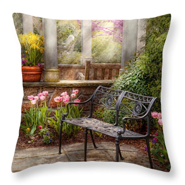 Spring - Bench - A place to retire  Throw Pillow by Mike Savad