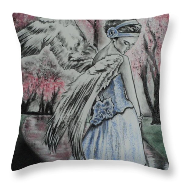 Spring Blossom Angel Throw Pillow by Carla Carson