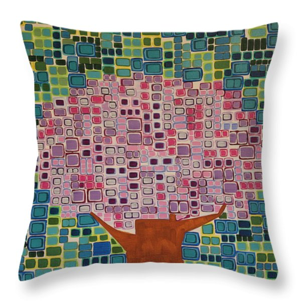 Spring Blossoms Throw Pillow by Donna Howard