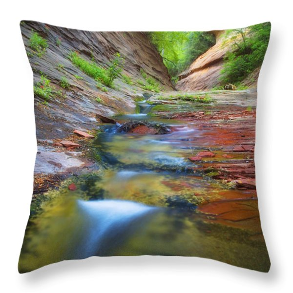 Spring Cascades Throw Pillow by Peter Coskun