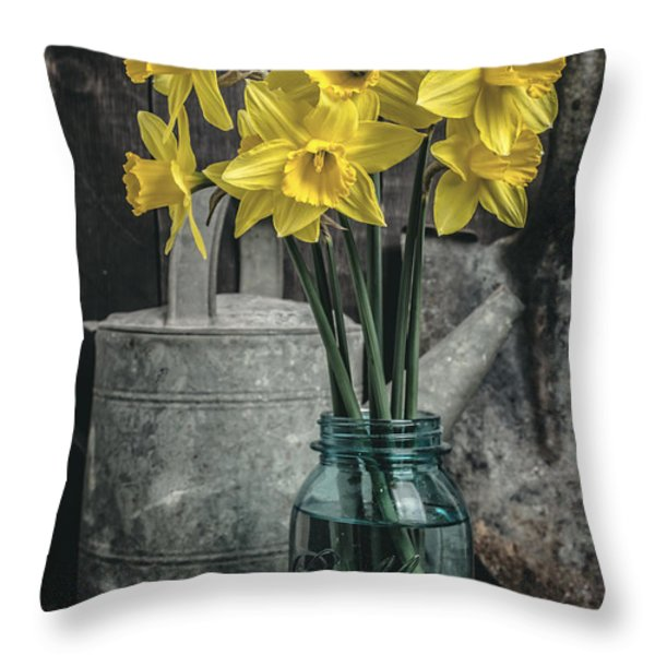 Spring Daffodil Flowers Throw Pillow by Edward Fielding