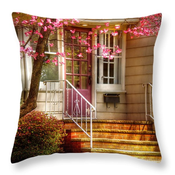 Spring - Door - Dogwood Throw Pillow by Mike Savad
