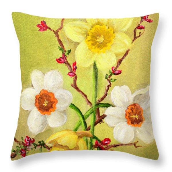 Spring Flowers 2 Throw Pillow by Randy Burns