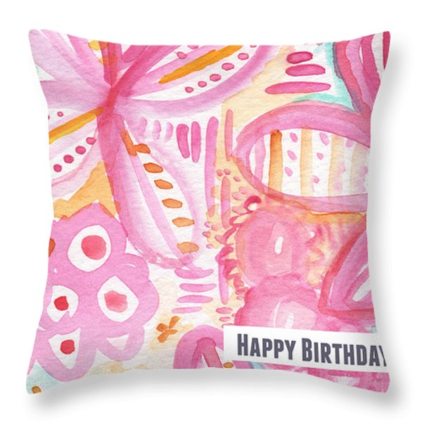 Spring Flowers Birthday Card Throw Pillow by Linda Woods