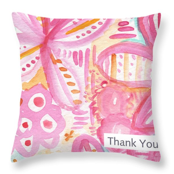Spring Flowers Thank You Card Throw Pillow by Linda Woods