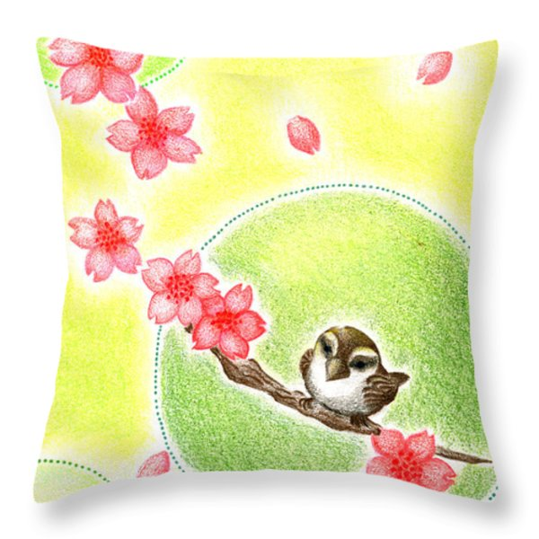 Spring Throw Pillow by Keiko Katsuta