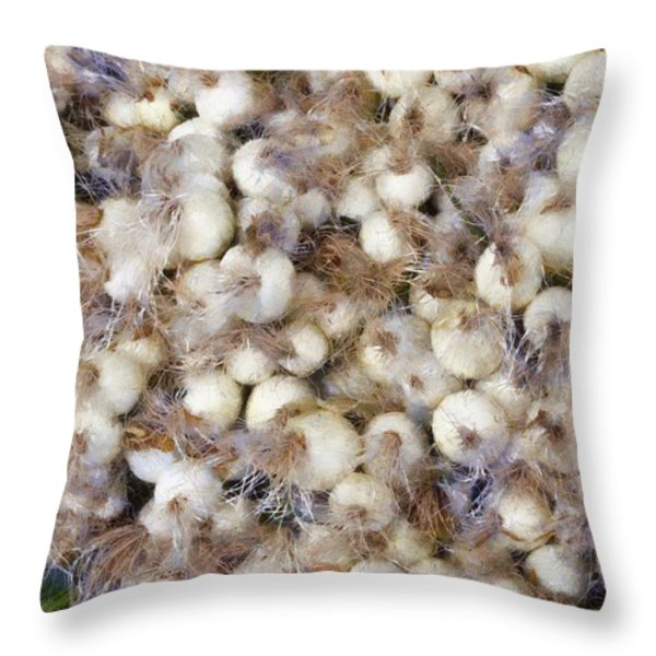 Spring Onions at the Market Throw Pillow by Michelle Calkins