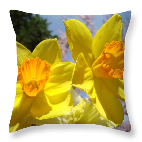 Spring Orange Yellow Daffodil Flowers art prints Throw Pillow by Baslee Troutman