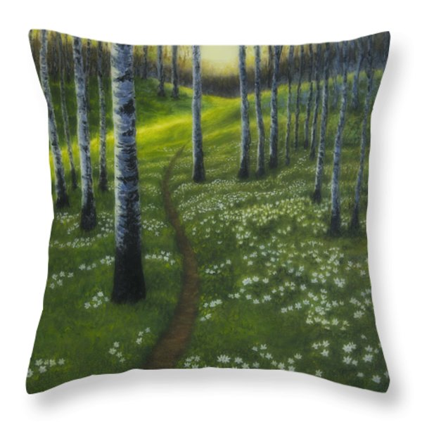 Spring Path Throw Pillow by Veikko Suikkanen