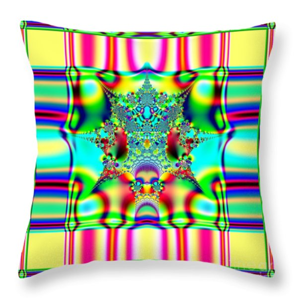Spring Plaid Fabric Fractal Throw Pillow by Rose Santuci-Sofranko