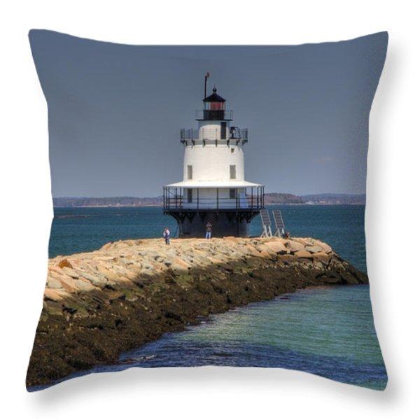 Spring Point Ledge Light Throw Pillow by Joann Vitali