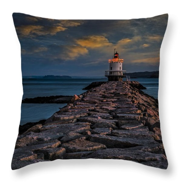 Spring Point Ledge Lighthouse Throw Pillow by Susan Candelario