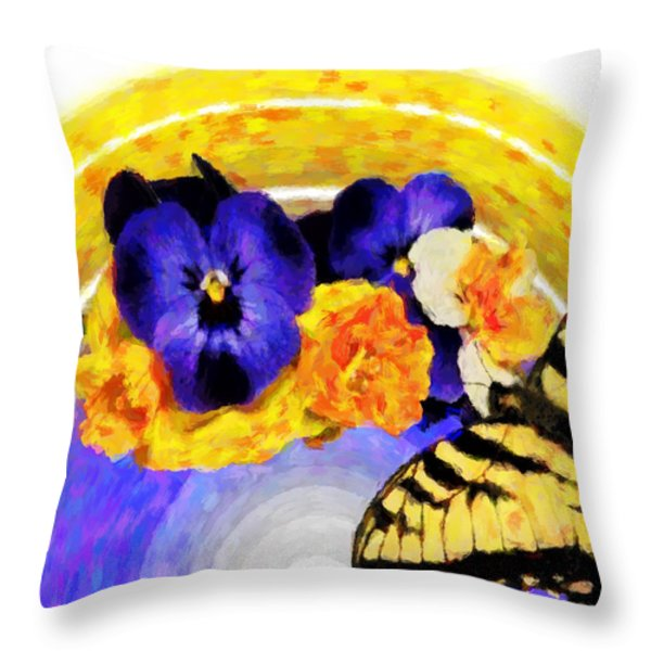 Spring Rainbow Throw Pillow by Susan Leggett