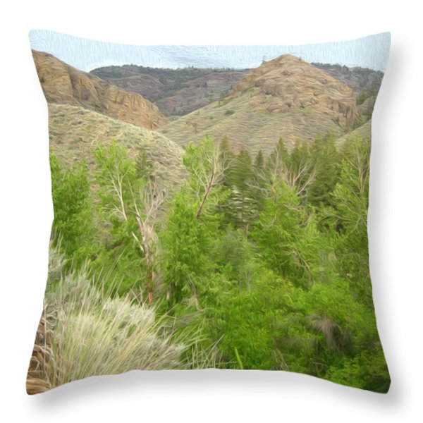 Spring Returns To The Valley Throw Pillow by Kathy Bassett