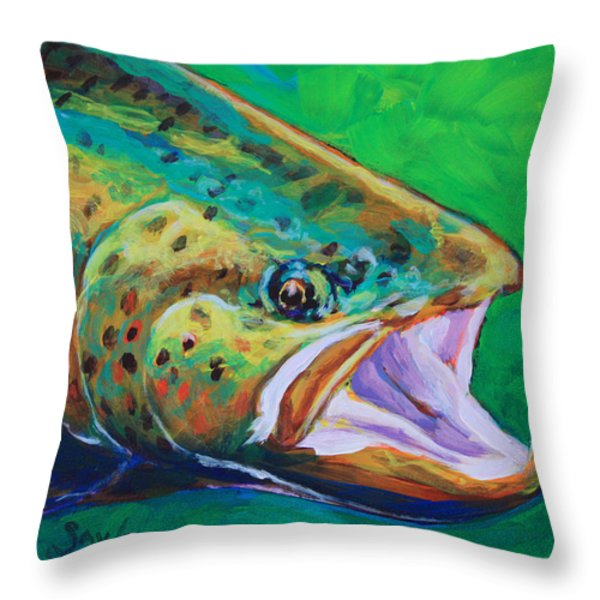 Spring Time Brown Trout- Fly Fishing Art Throw Pillow by Savlen Art