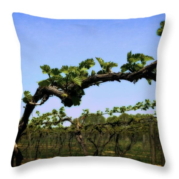 Spring Vineyard Throw Pillow by Michelle Calkins