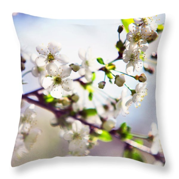 Spring White Cherry Tree  Throw Pillow by Jenny Rainbow