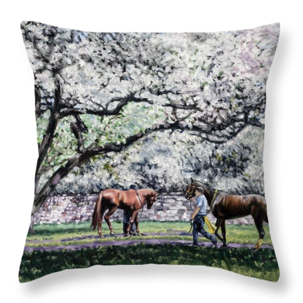 Springtime at Keeneland Throw Pillow by Thomas Allen Pauly
