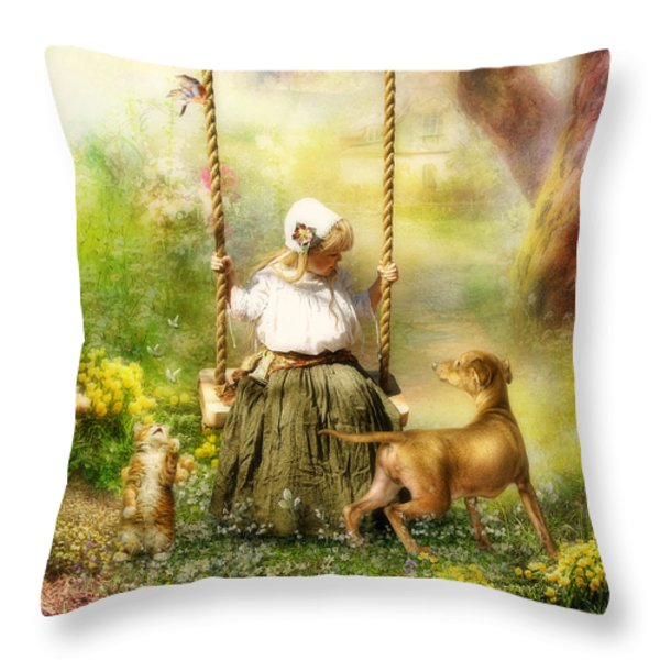 Springtime Throw Pillow by Cindy Grundsten