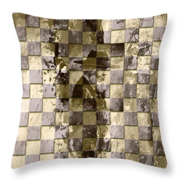 Square Mania - Old Man 02 Throw Pillow by Emerico Imre Toth