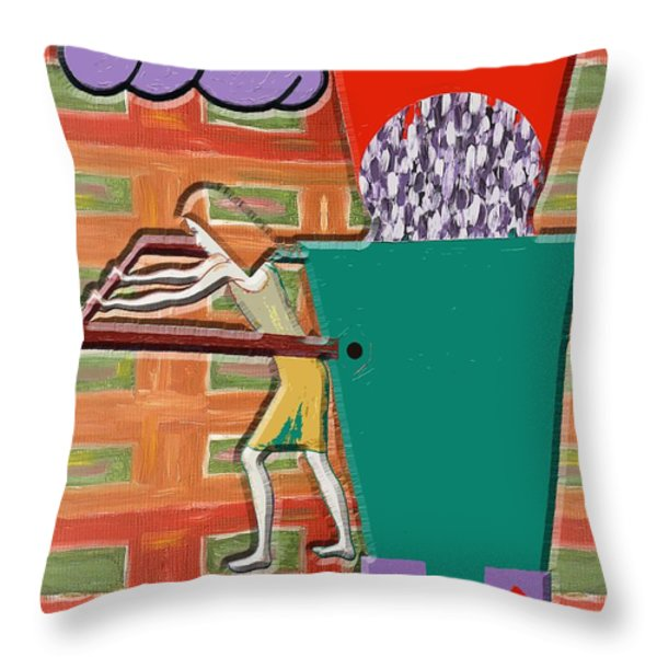 SQUARE WHEELS MAKE LIFE MORE DIFFICULT  Throw Pillow by Patrick J Murphy