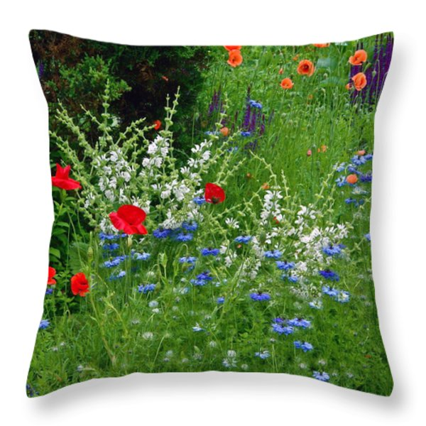 Squarely Spring Floral Garden Throw Pillow by Byron Varvarigos