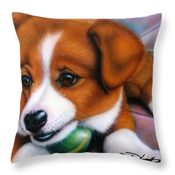 Squeaker Throw Pillow by Darren Robinson