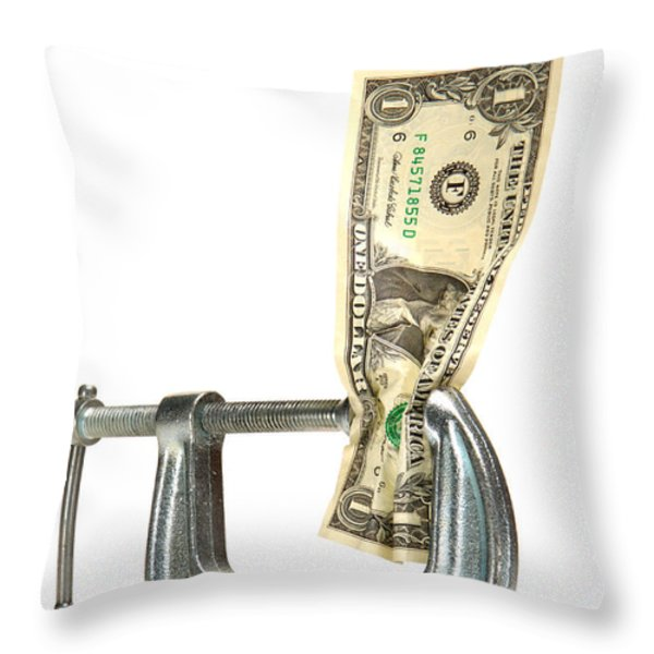 Squeezing the Dollar Throw Pillow by Olivier Le Queinec