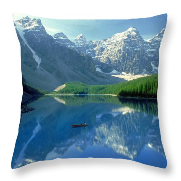 S.short Canoeist, Moraine Lake, Ab, Fl Throw Pillow by Steve Short