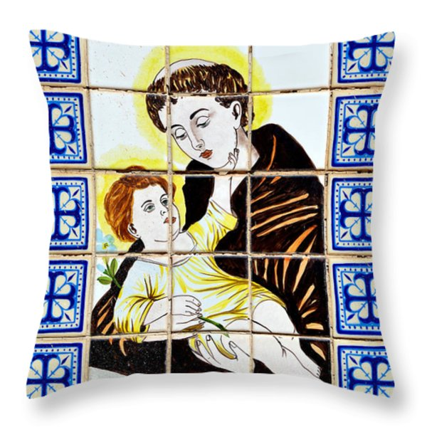 St Anthony Of Padua Throw Pillow by Christine Till