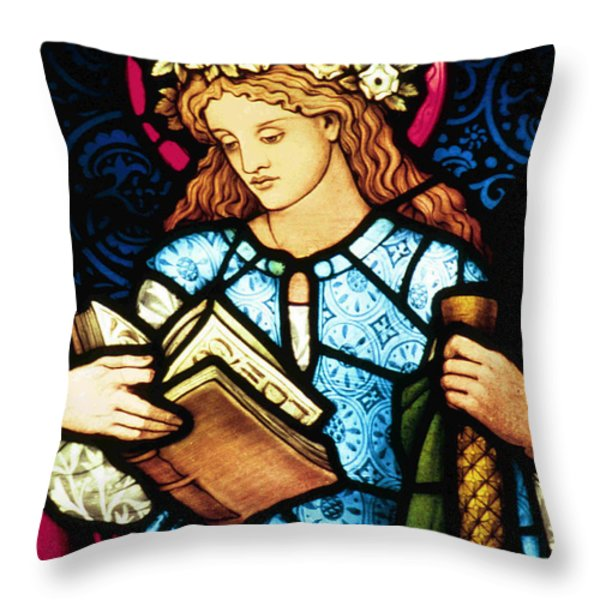 St Catherine Of Alexandria In Stained Glass Throw Pillow by Philip Ralley