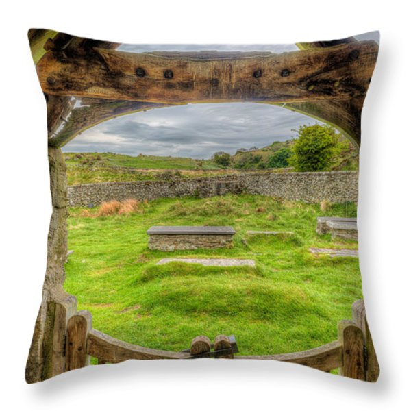 St Celynnin Graveyard Throw Pillow by Adrian Evans
