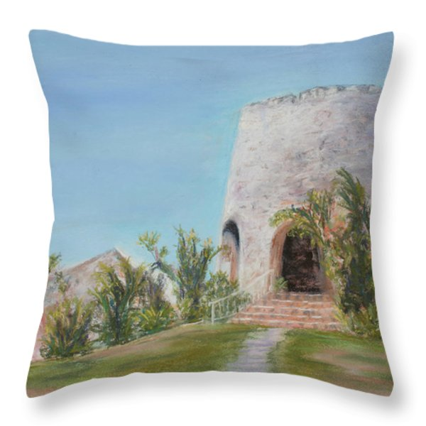 St. Croix Sugar Mill Throw Pillow by Mary Benke