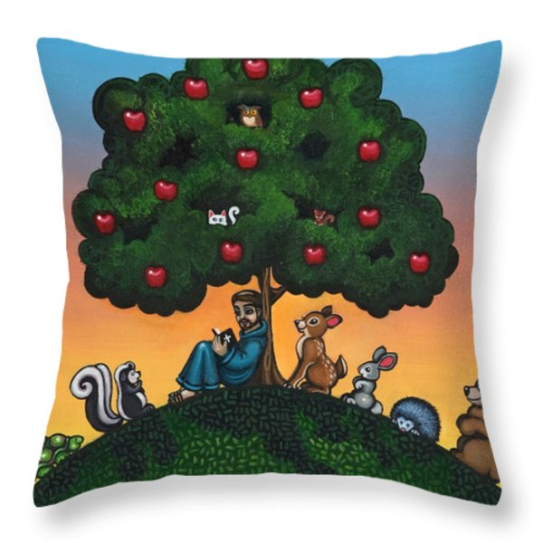St. Francis Mother Natures Son Throw Pillow by Victoria De Almeida