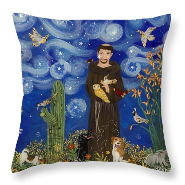 St. Francis Starry Night Throw Pillow by Sue Betanzos