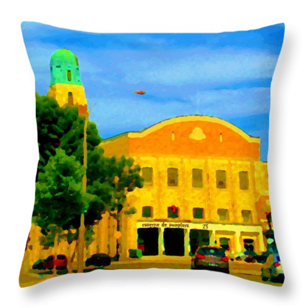 ST HENRI CITY HALL POSTE DE POLICE ET CASERNE DE POMPIERS MONTREAL CITY SCENE ART OF CAROLE SPANDAU Throw Pillow by CAROLE SPANDAU