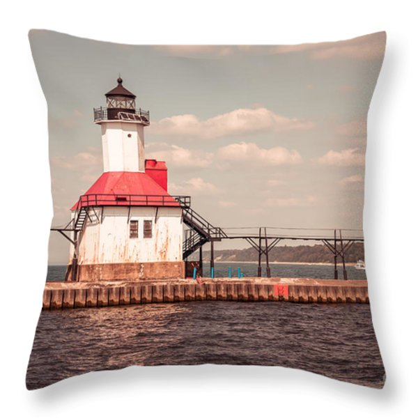 St. Joseph Lighthouse Vintage Picture  Photo Throw Pillow by Paul Velgos