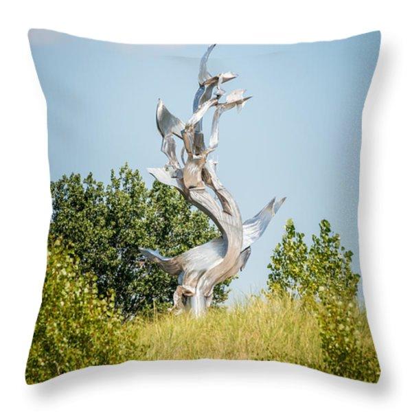 St. Joseph Michigan And You Seas Metal Sculpture Throw Pillow by Paul Velgos