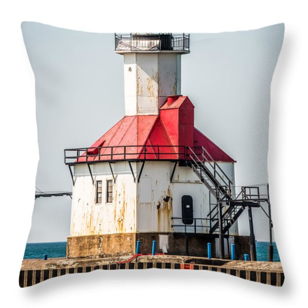 St. Joseph Michigan Lighthouse Picture  Throw Pillow by Paul Velgos