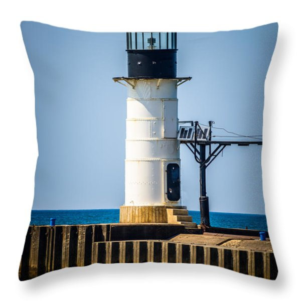 St. Joseph Outer Lighthouse Photo Throw Pillow by Paul Velgos