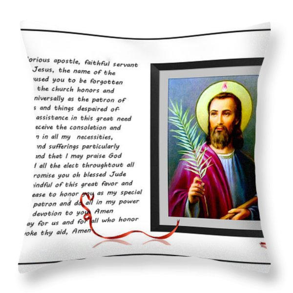 St. Jude Patron of Hopeless Cases - Prayer - Petition Throw Pillow by Barbara Griffin