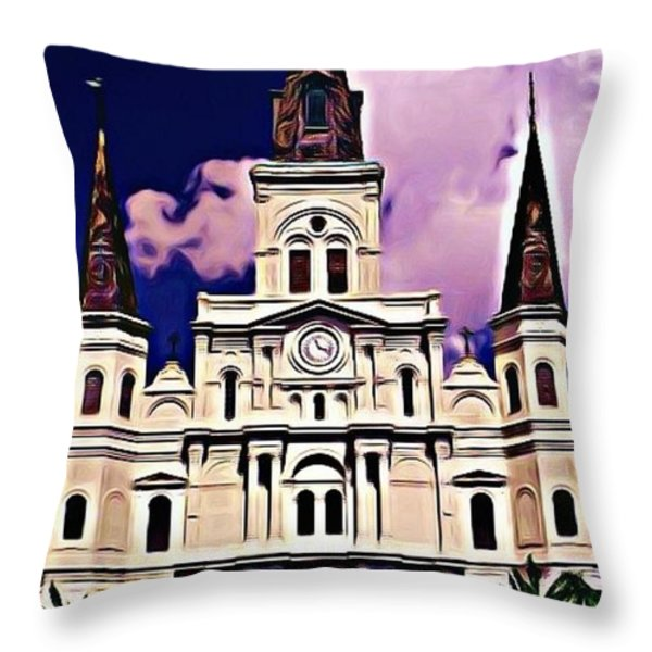 St Louis Cathedral In New Orleans Throw Pillow by John Malone