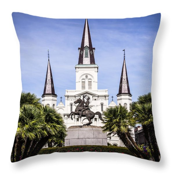 St. Louis Cathedral In New Orleans  Throw Pillow by Paul Velgos
