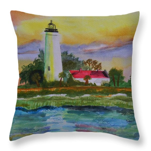St. Marks Lighthouse-2 Throw Pillow by Warren Thompson
