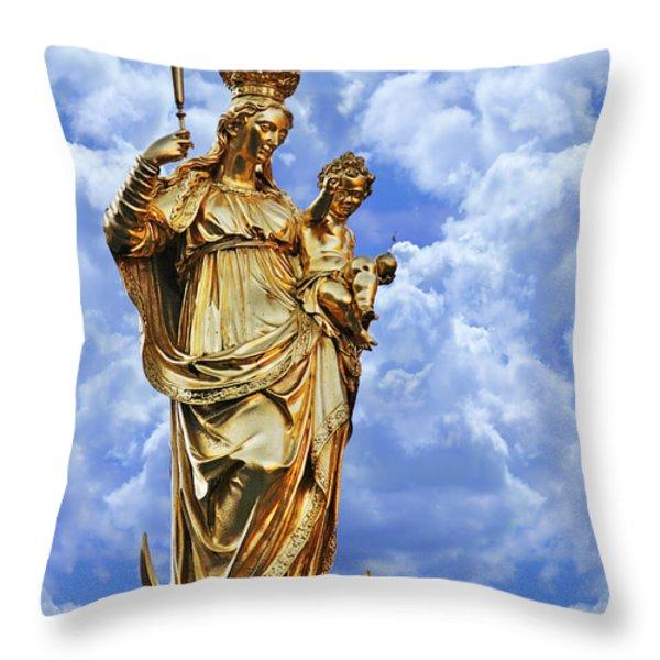 St Mary's Column Marienplatz Munich Throw Pillow by Christine Till