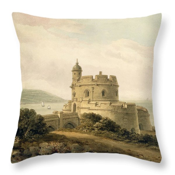 St Mawes Castle Throw Pillow by John Chessell Buckler