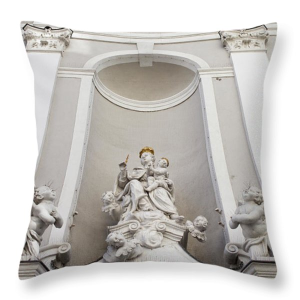 St Michael Church Sculptures in Budapest Throw Pillow by Artur Bogacki
